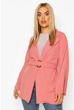 Plus Split Sleeve Self Belt Blazer, Dusky pink