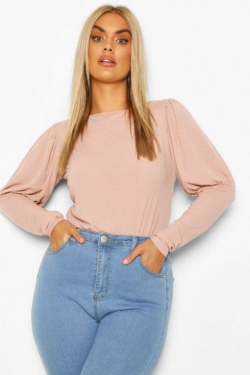 Fawn Plus Soft Rib Volume Sleeve Top