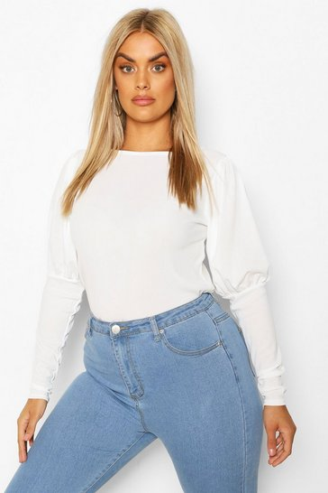 Ivory Plus Soft Rib Volume Sleeve Top