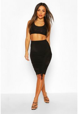 Petite Midi Skirt & Crop Top Co-Ord, Black