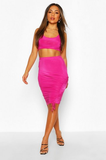 Fushia Petite Midi Skirt & Crop Top Co-Ord