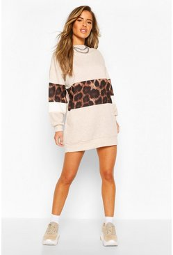 Stone Petite Leopard Block Sweat Dress