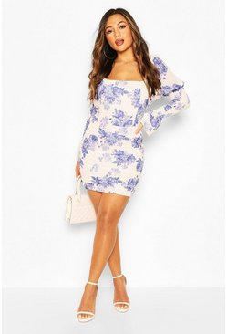 White Petite Floral Square Neck Volume Sleeve Dress