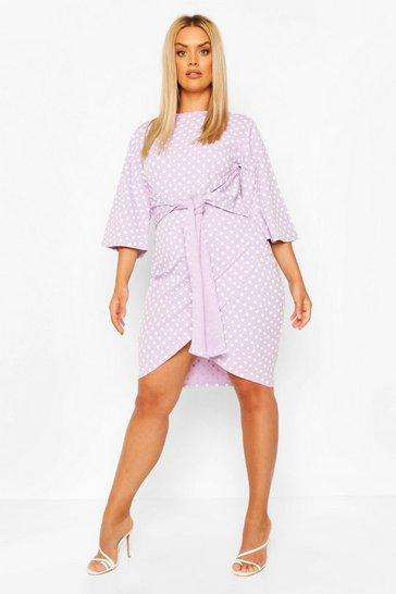 Lilac Plus Polka Dot Kimono Sleeve Tie Waist Wrap Dress