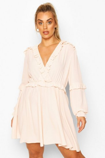 Blush Plus Ruffle Plunge Neck Skater Dress