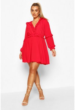 Red Plus Ruffle Plunge Neck Skater Dress