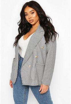 Black Plus Gingham Check Button Detail Blazer