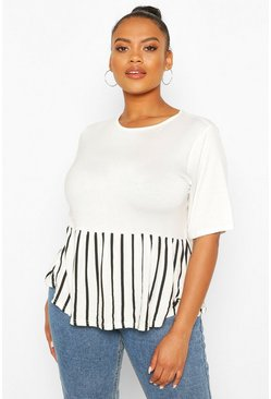 White Plus Contrast Stripe Smock Top