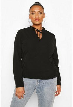 Black Plus Tie Neck Plunge Blouse