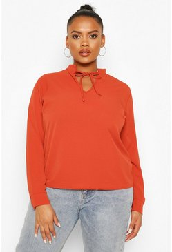 Rust Plus Tie Neck Plunge Blouse