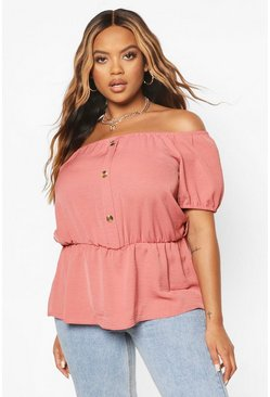 Rose Plus Button Through Bardot Belted Peplum Top
