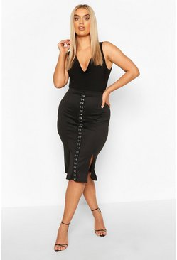 Black Plus Hook & Eye Midi Skirt