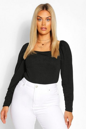 Black Plus Square Neck Puff Sleeve Bodysuit