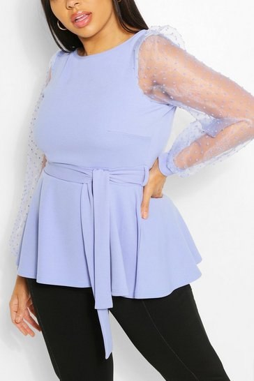Blue Plus Dobby Mesh Belted Peplum Top