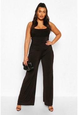 Black Plus High Waist Ruched Wide Leg Trouser