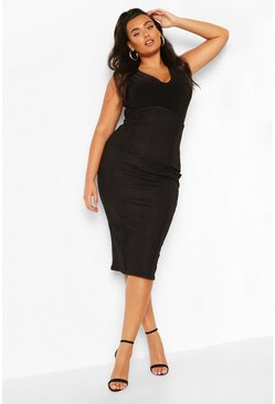 Black Plus Mock Croc Curve Midi Skirt