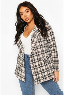 Stone Plus Check Button Detail Blazer