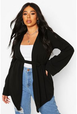 Black Plus Collarless Wrap Belted Blazer