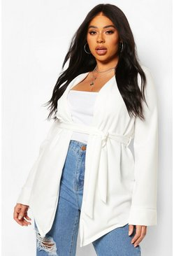 Ivory Plus Collarless Wrap Belted Blazer