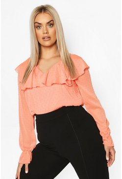Coral Plus Dobby Mesh Ruffle Plunge Blouse