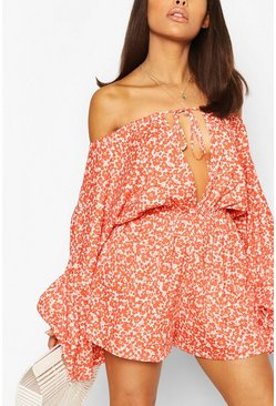 Orange Petite Bright Floral Off Shoulder Playsuit