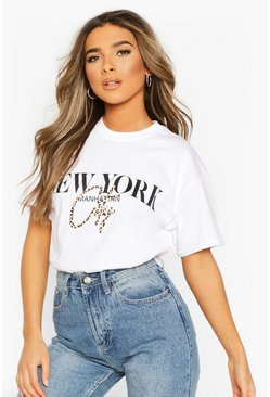 White Petite Leopard City Slogan Oversized T-Shirt