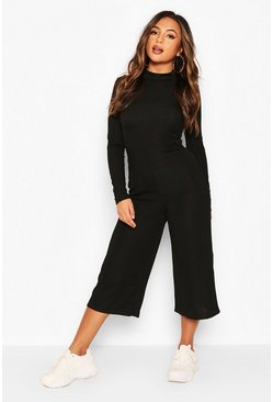 Black Petite High Neck Ribbed Culotte Jumpsuit