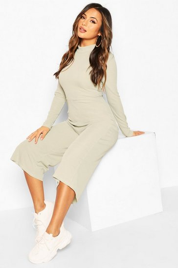 Olive Petite High Neck Ribbed Culotte Lounge Jumpsuit