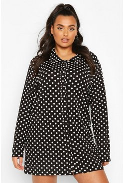 Black Plus Polka Dot Piping Shirt Nightie