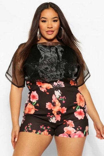 Black Plus Organza Contrast Floral Playsuit
