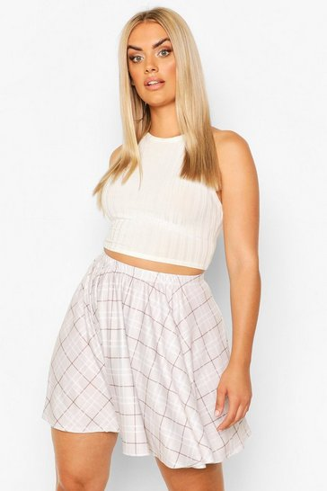 Beige Plus Check Mini Skirt