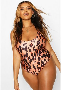 Brown Plus Leopard Print Scoop Neck Swimsuit