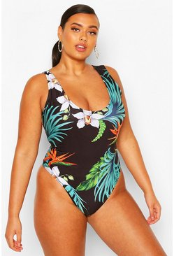Black Plus Palm Print Scoop Neck Swimsuit