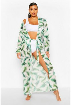 Green Plus Tropical Leaf Kimono