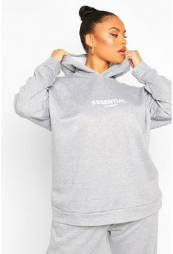 Sweat à capuche coupe oversize Essentiel Plus, Gris