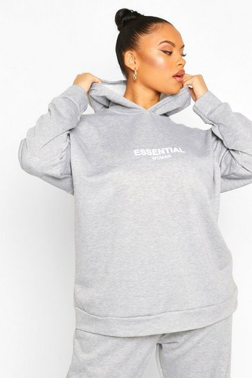 Grey Plus Essential Oversized Hoody