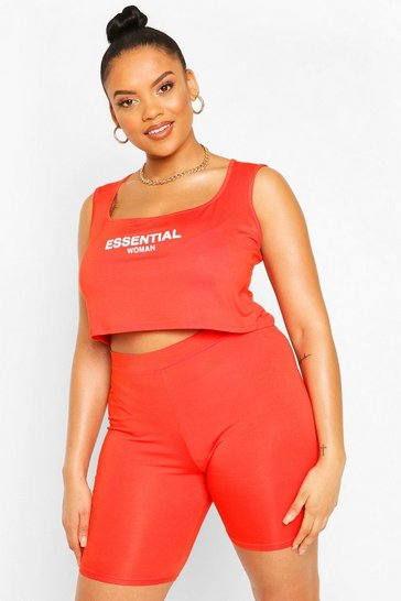 Orange Plus Essential Cycle Short Co-ord