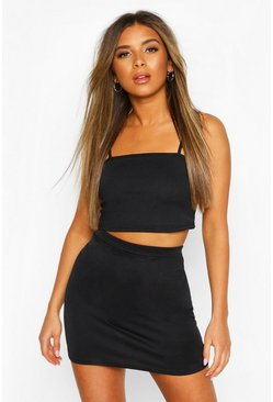 Black Petite Strappy Bralet & Mini Skirt Co-Ord