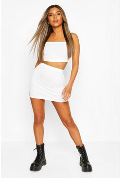 Ivory Petite Strappy Bralet & Mini Skirt Co-Ord