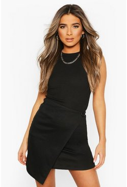 Black Pettie Wrap Front Mini Skirt