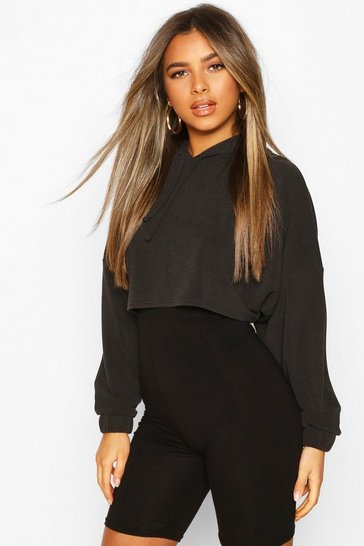 Black Petite Knitted Ribbed Cropped Hoody