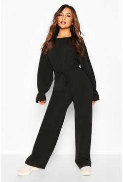 Black Petite Knitted Rib Volume Sleeve Jumpsuit