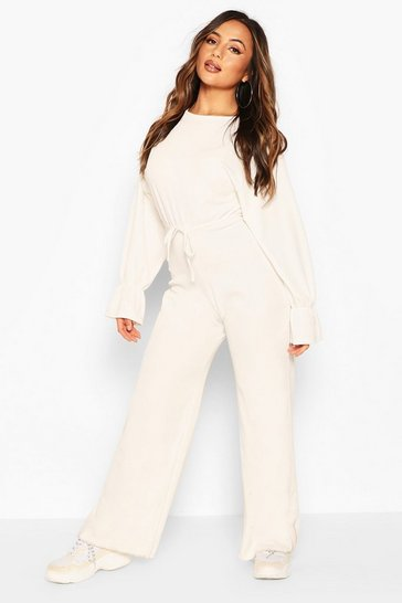 Ivory Petite Knitted Rib Volume Sleeve Lounge Jumpsuit
