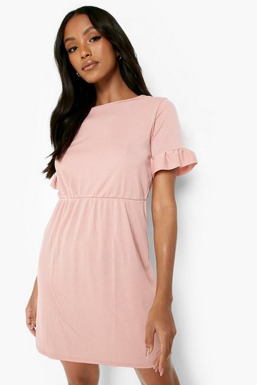 Rose Petite Frill Sleeve Smock Dress