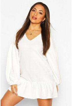 Ivory Petite Textured Volume Sleeve Smock Dress
