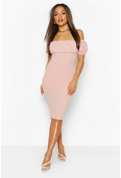 Rose Petite Puff Off Shoulder Midi Dress
