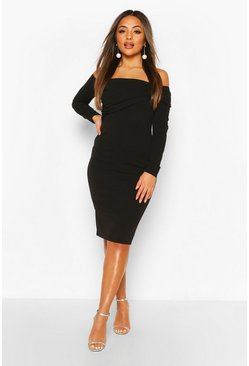 Black Petite Off The Shoulder Midi Dress