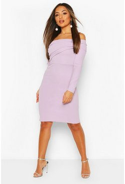 Lilac Petite Off The Shoulder Midi Dress