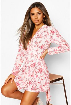 White Petite Floral Volume Sleeve Wrap Dress