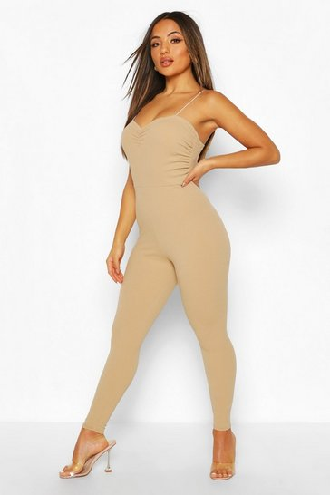 Nude Petite Ruched Cami Jumpsuit